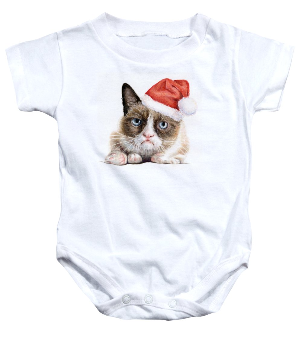 Grumpy Baby Onesie featuring the painting Grumpy Cat as Santa by Olga Shvartsur