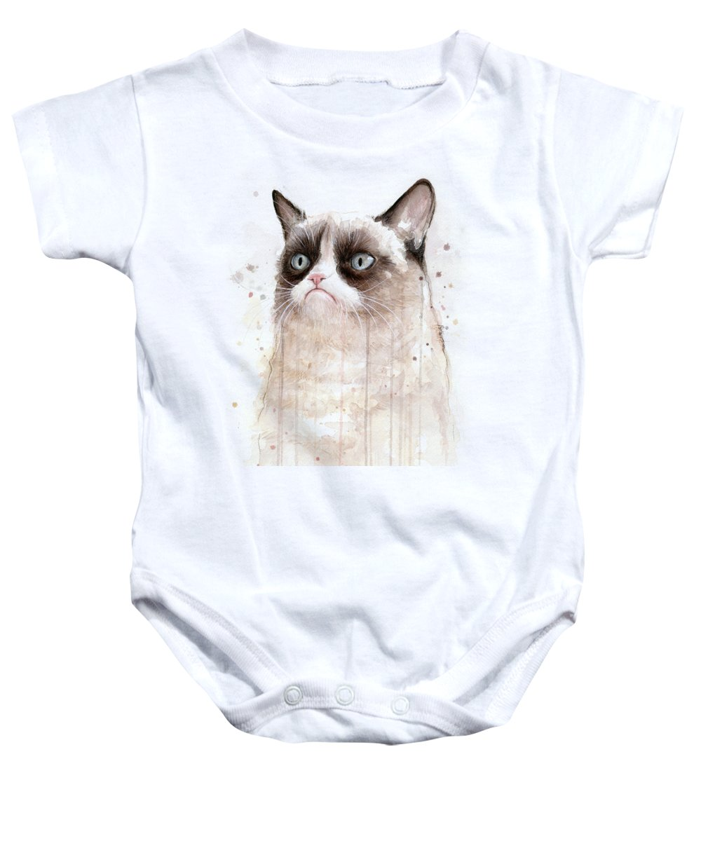 Grumpy Baby Onesie featuring the painting Grumpy Watercolor Cat by Olga Shvartsur
