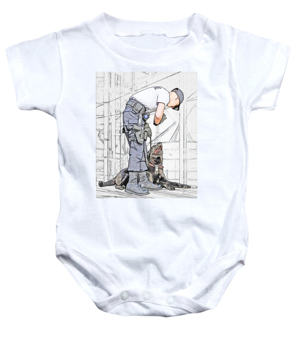 Policeman Baby Onesie featuring the digital art Guarding The City by Francesa Miller