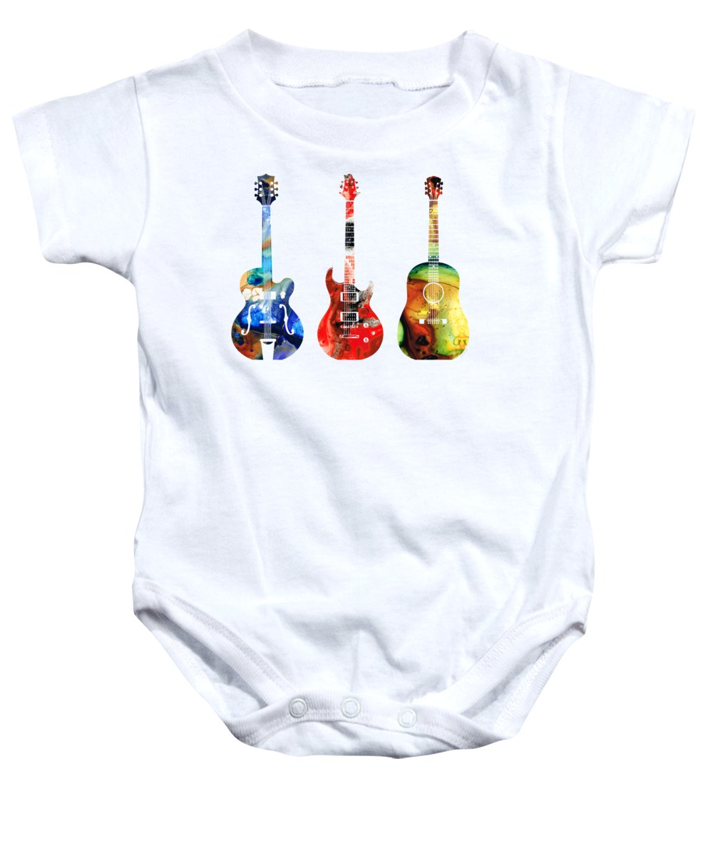 Guitar Baby Onesie featuring the painting Guitar Threesome - Colorful Guitars By Sharon Cummings by Sharon Cummings