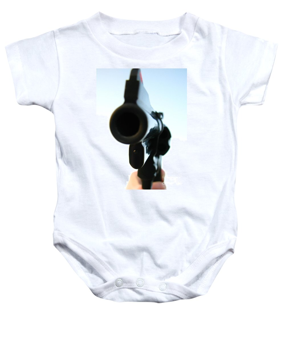 Guns Baby Onesie featuring the photograph Gun by Amanda Barcon