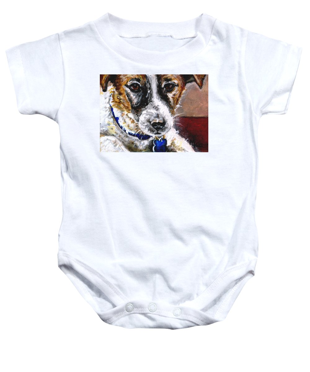 Chartiy Baby Onesie featuring the painting Gunter From Muttville by Mary-Lee Sanders