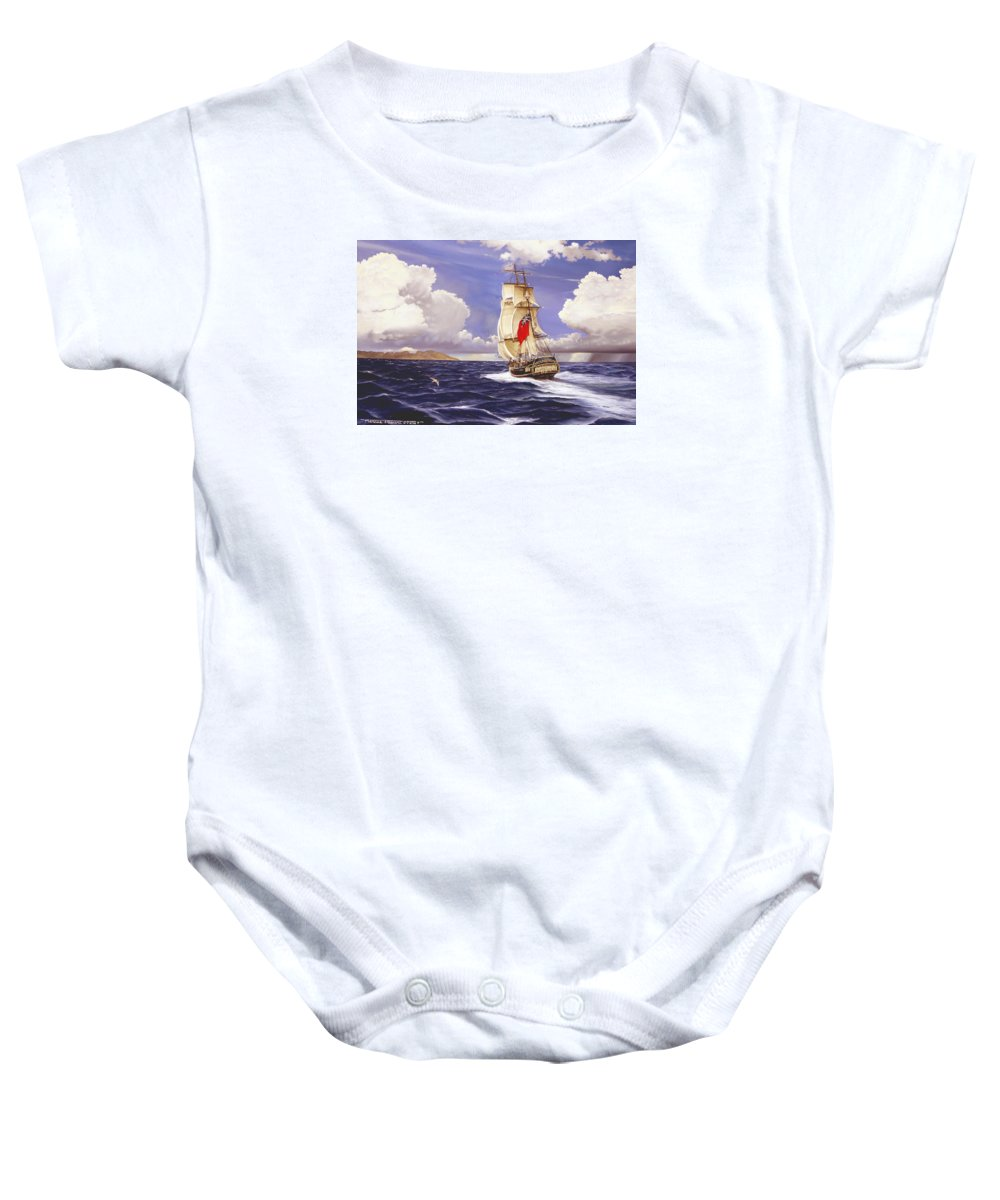Marine Baby Onesie featuring the painting H. M. S. Bounty At Tahiti by Marc Stewart
