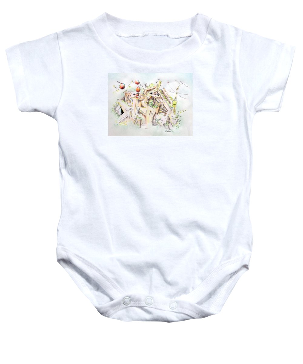 City Baby Onesie featuring the painting Habitat by Dave Martsolf
