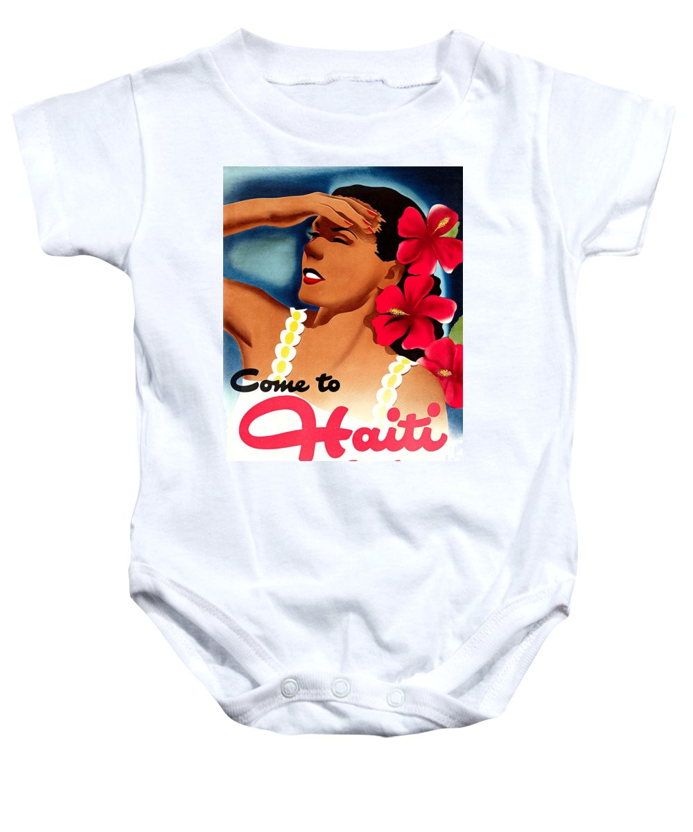 Haiti Baby Onesie featuring the painting Haiti, Woman With Exotic Flowers by Long Shot