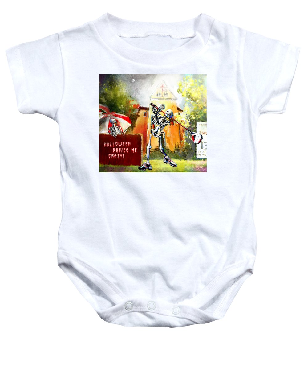 Fun Baby Onesie featuring the painting Halloween Drives Me Crazy by Miki De Goodaboom