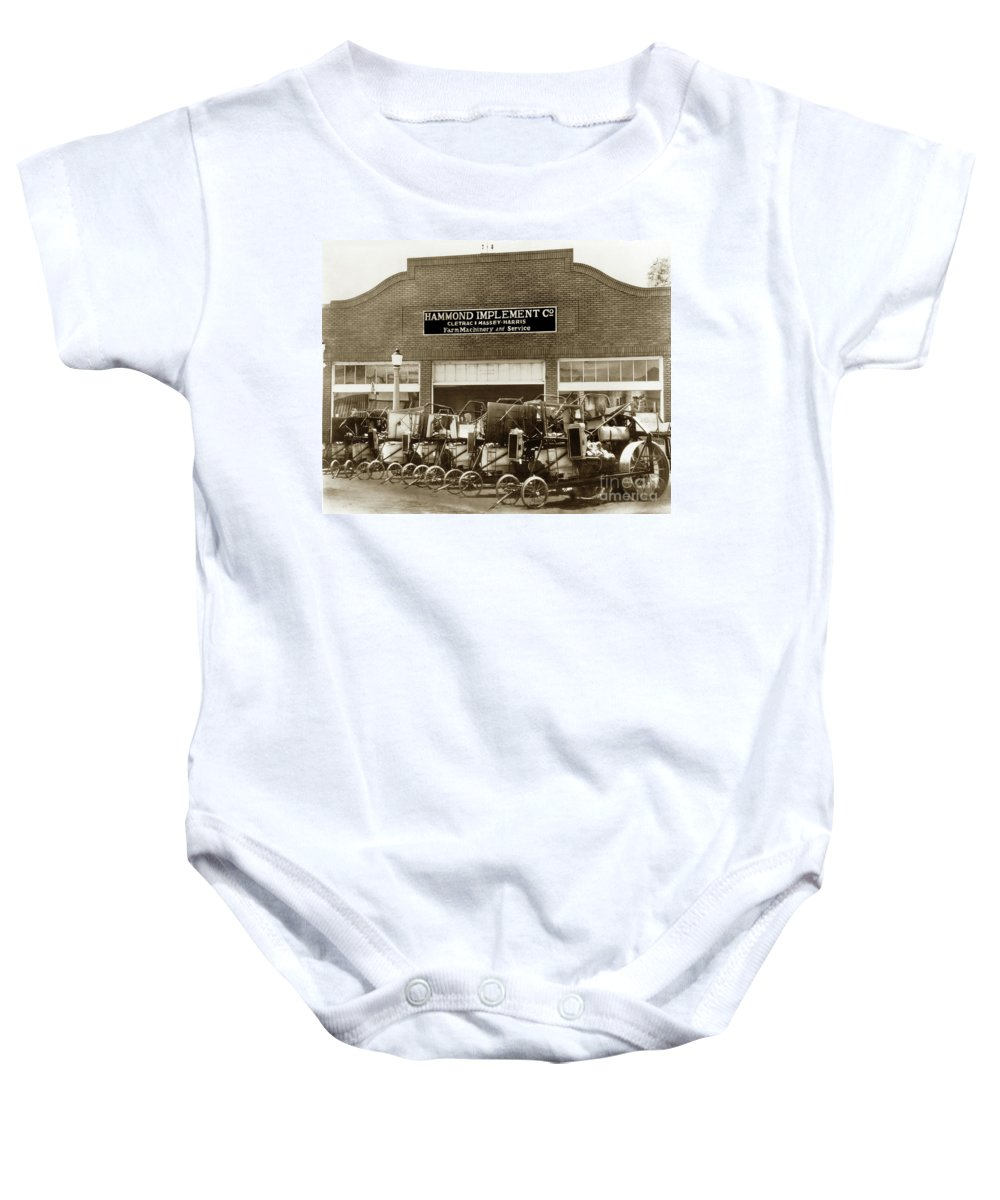 Hammond Implement Company Farm Machinery Baby Onesie featuring the photograph Hammond Implement Company Farm Machinery 1924 by California Views Mr Pat Hathaway Archives