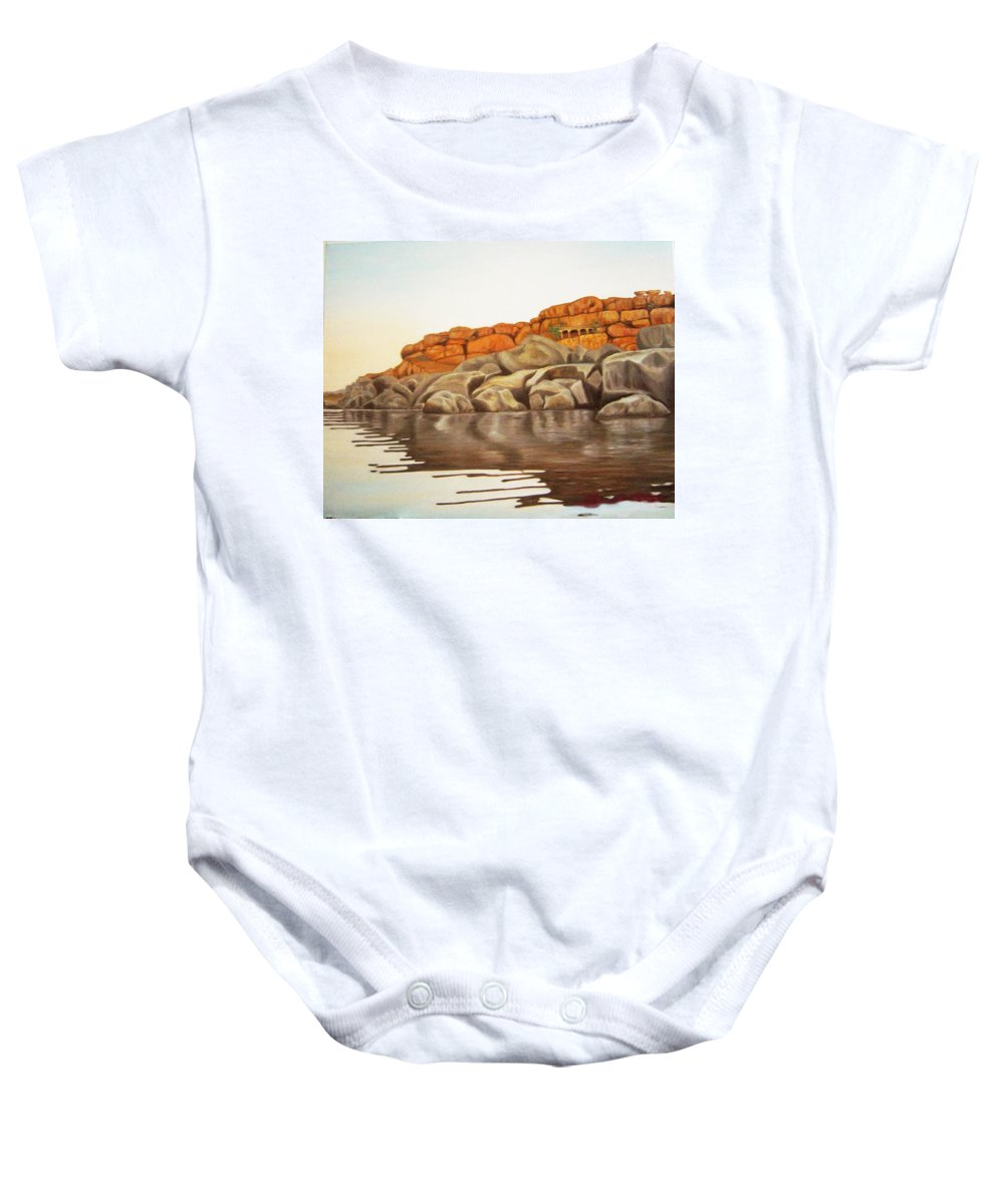 Hampi Baby Onesie featuring the painting Hampi On Tungabadra by Usha Shantharam
