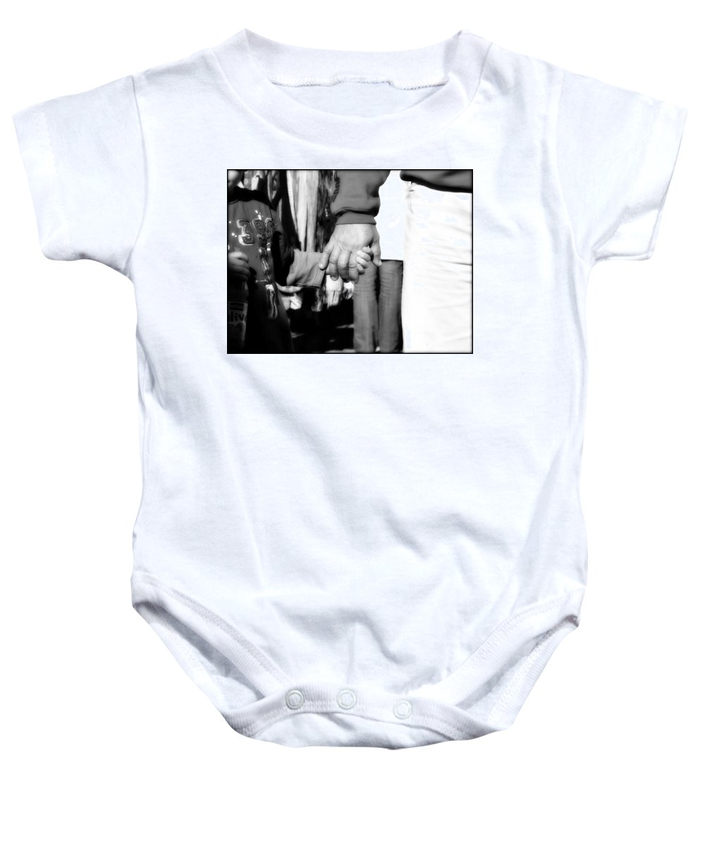 Black And White Baby Onesie featuring the photograph Hand In Hand by Totally Talliesen
