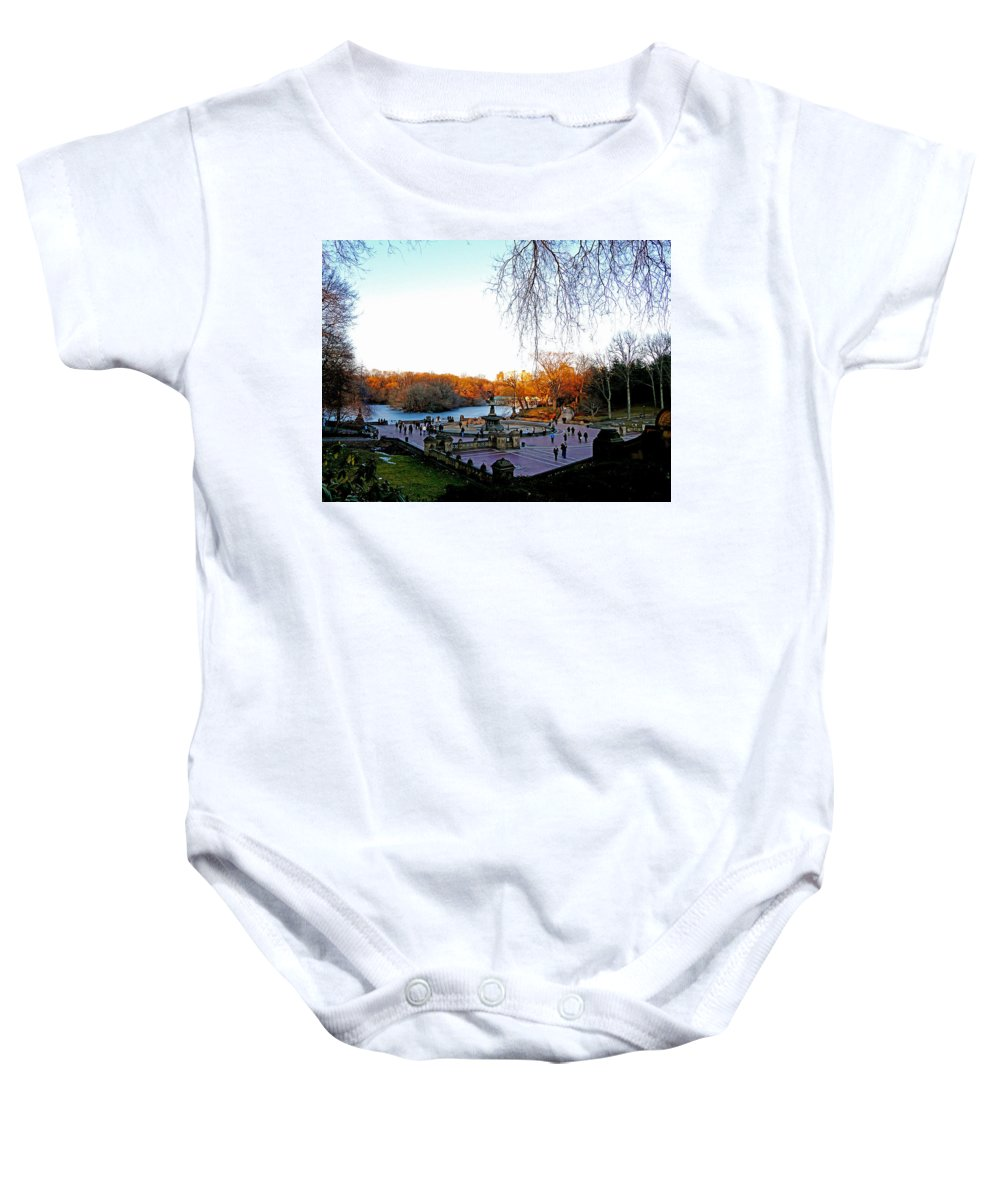 Monument Baby Onesie featuring the photograph Hangin' At Bethesda Fountain by Kendall Eutemey