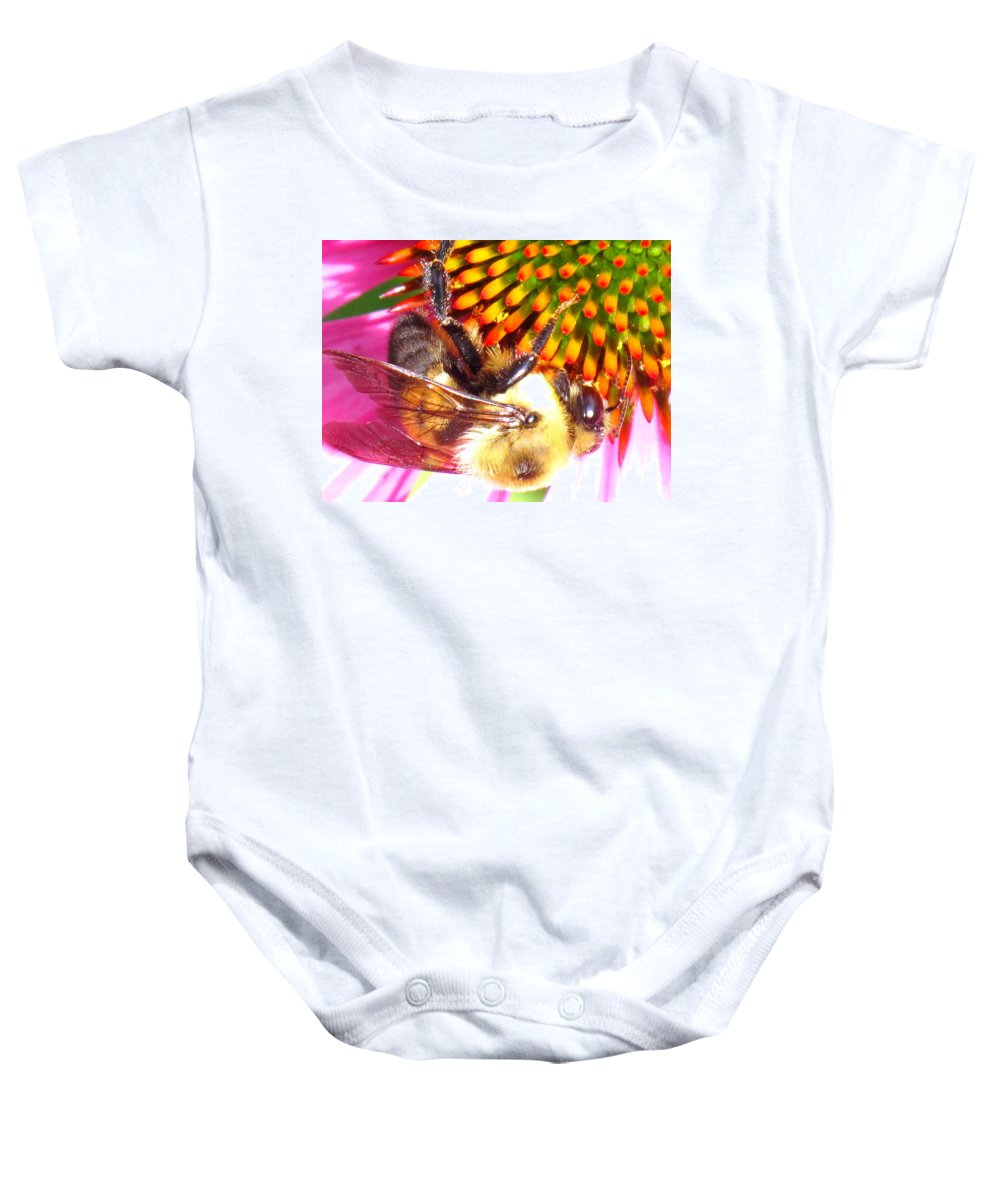 Bee Baby Onesie featuring the photograph Hanging In There by Ian MacDonald