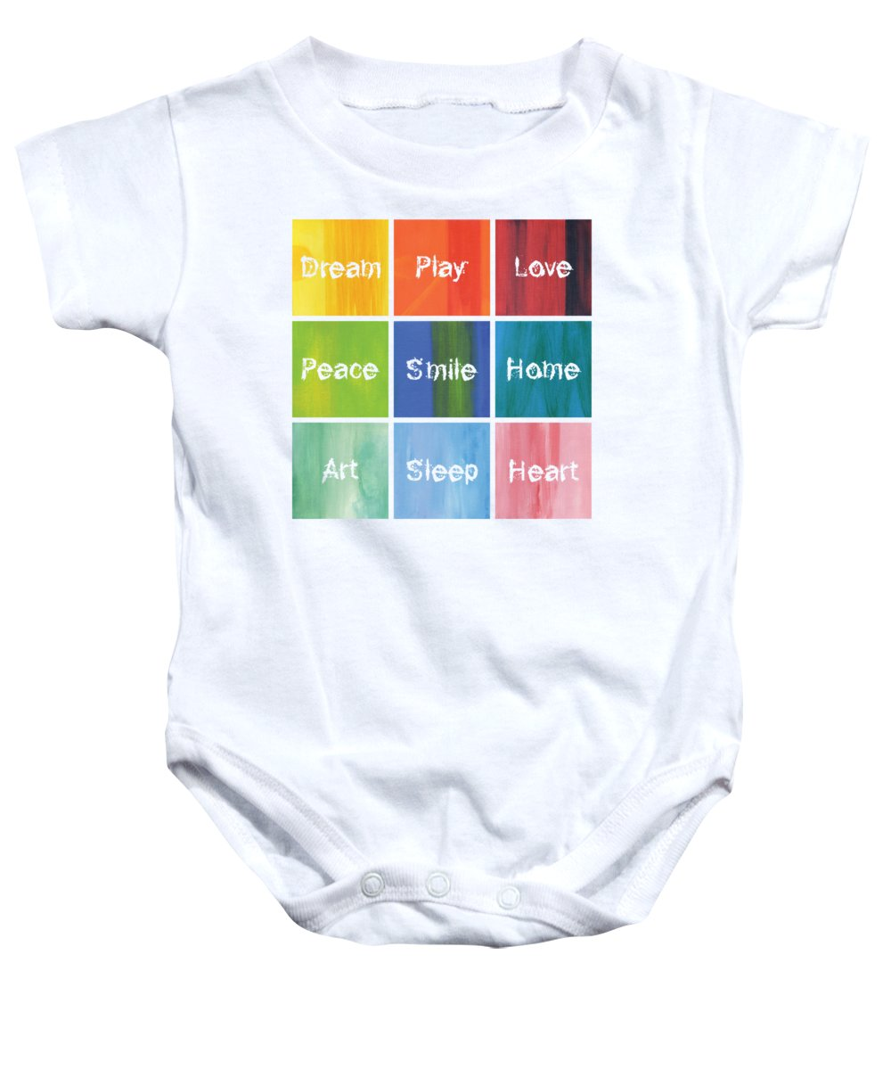 Love Baby Onesie featuring the mixed media Happy 9 In 1 by Kathleen Wong