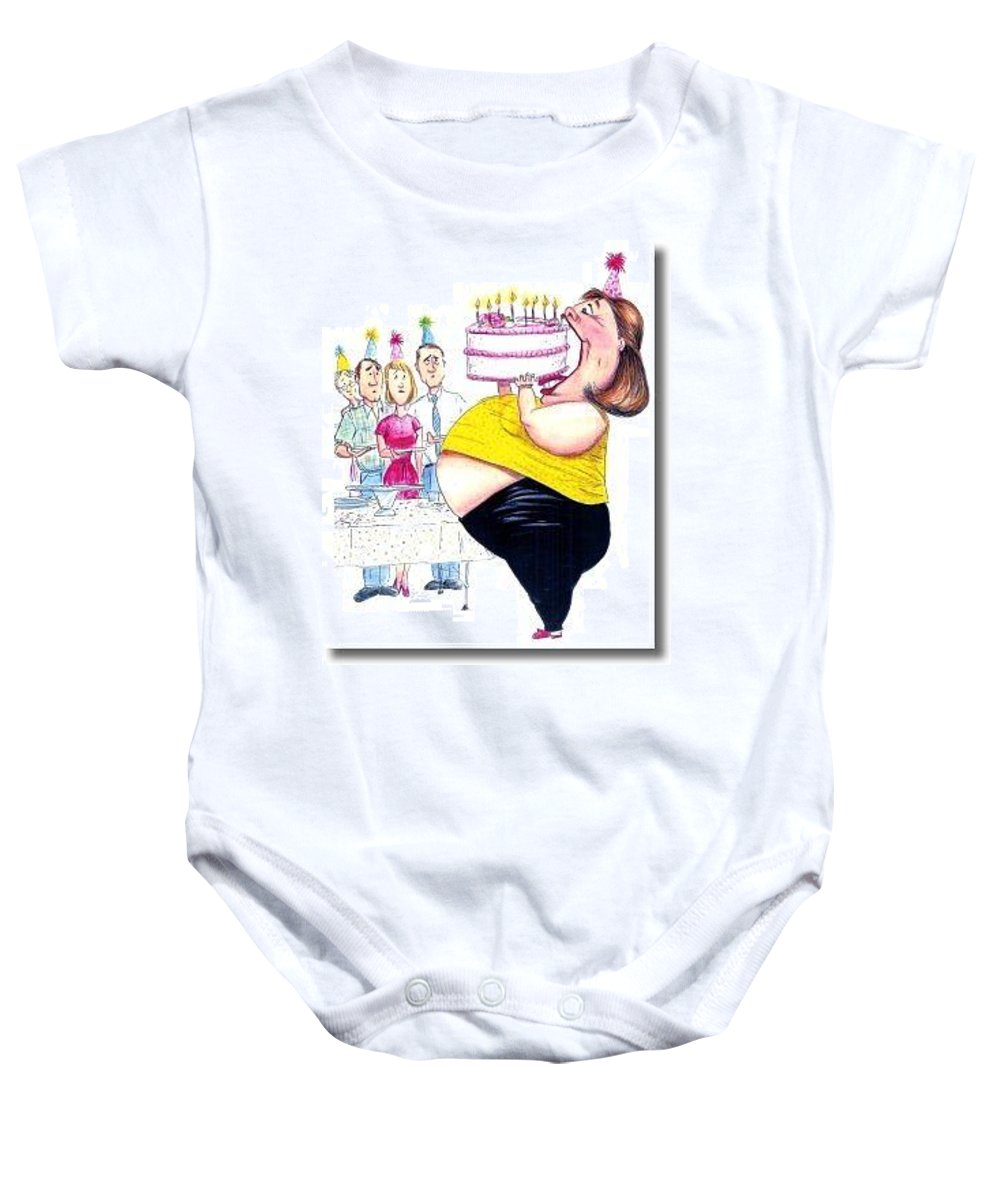 Humor Get Even Baby Onesie featuring the drawing Happy Birthday by Bruce Lennon