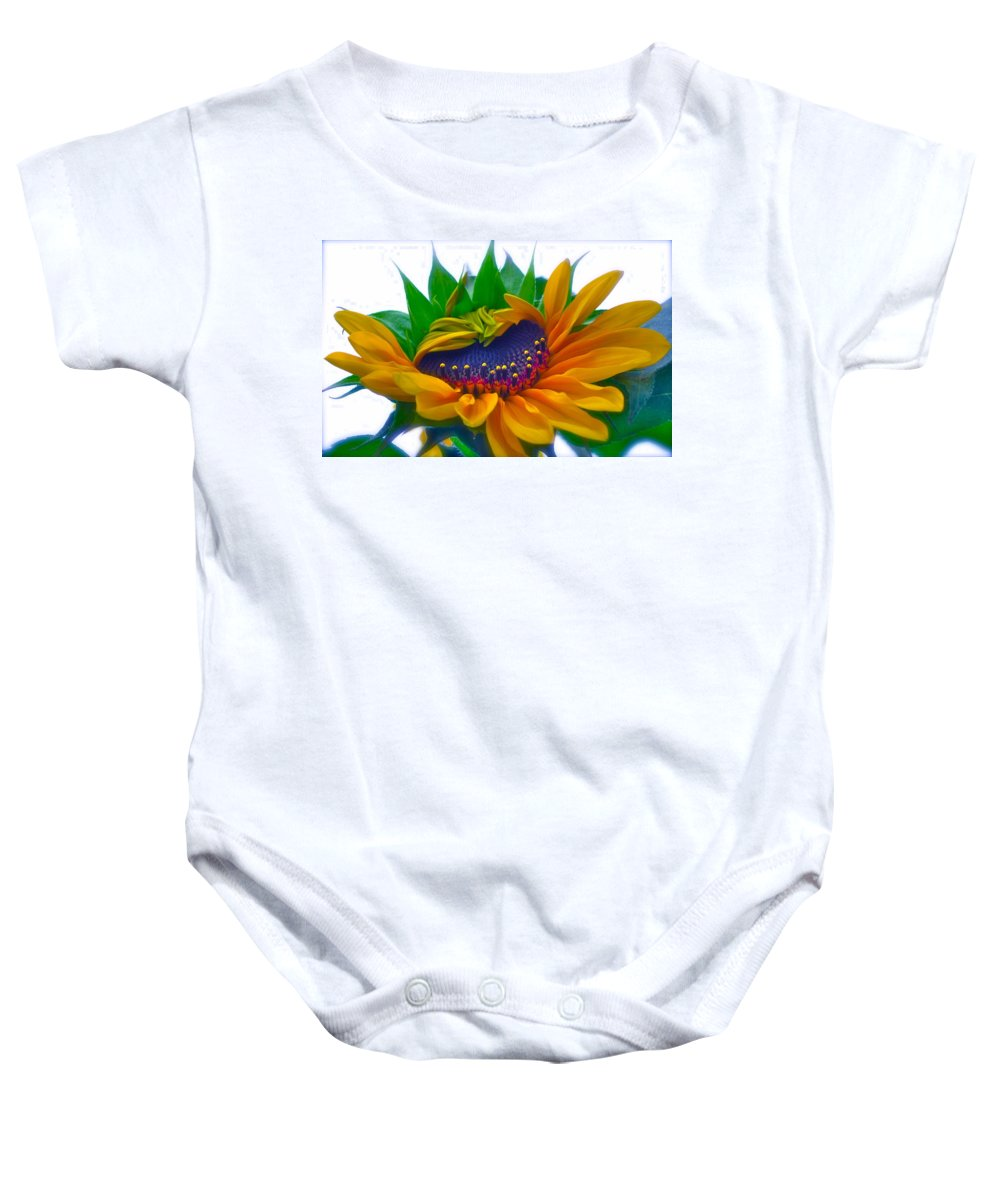 Photograph Of Sunflower Baby Onesie featuring the photograph Happy Days by Gwyn Newcombe