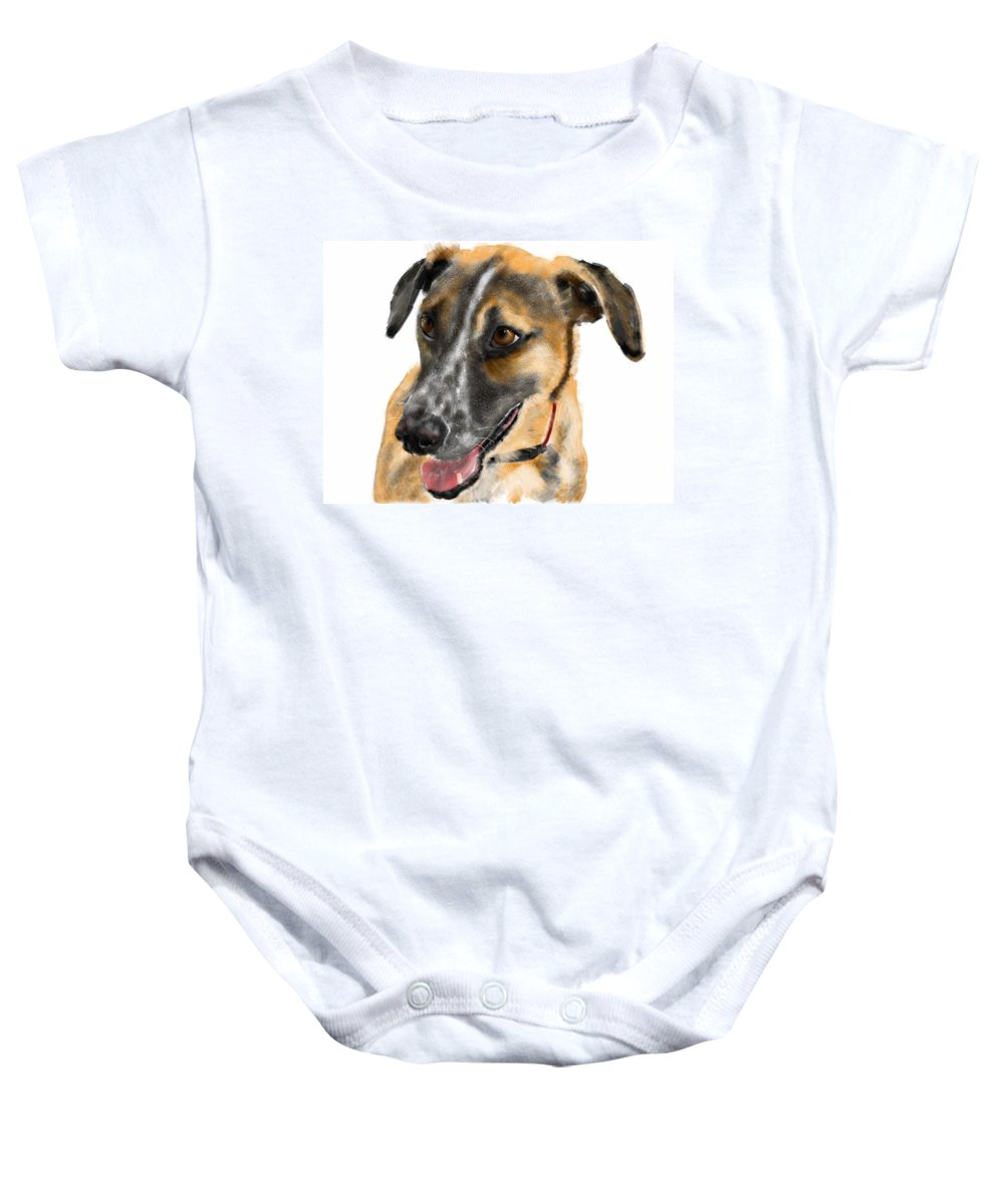 Dogs Baby Onesie featuring the painting Happy Ears by Lois Ivancin Tavaf