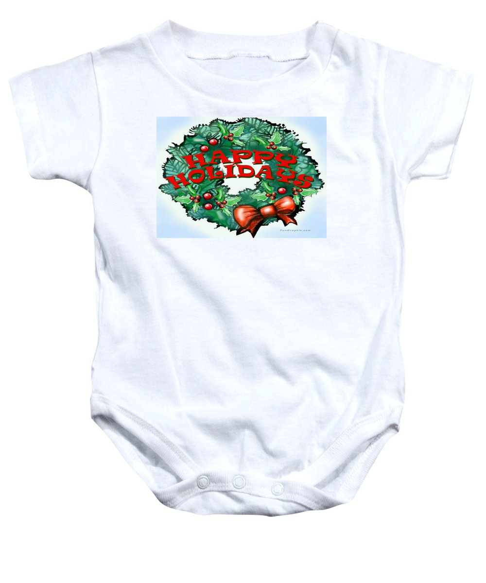 Happy Holidays Baby Onesie featuring the greeting card Happy Holidays by Kevin Middleton