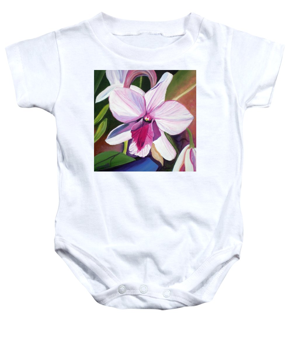 Kauai Baby Onesie featuring the painting Happy Orchid by Marionette Taboniar