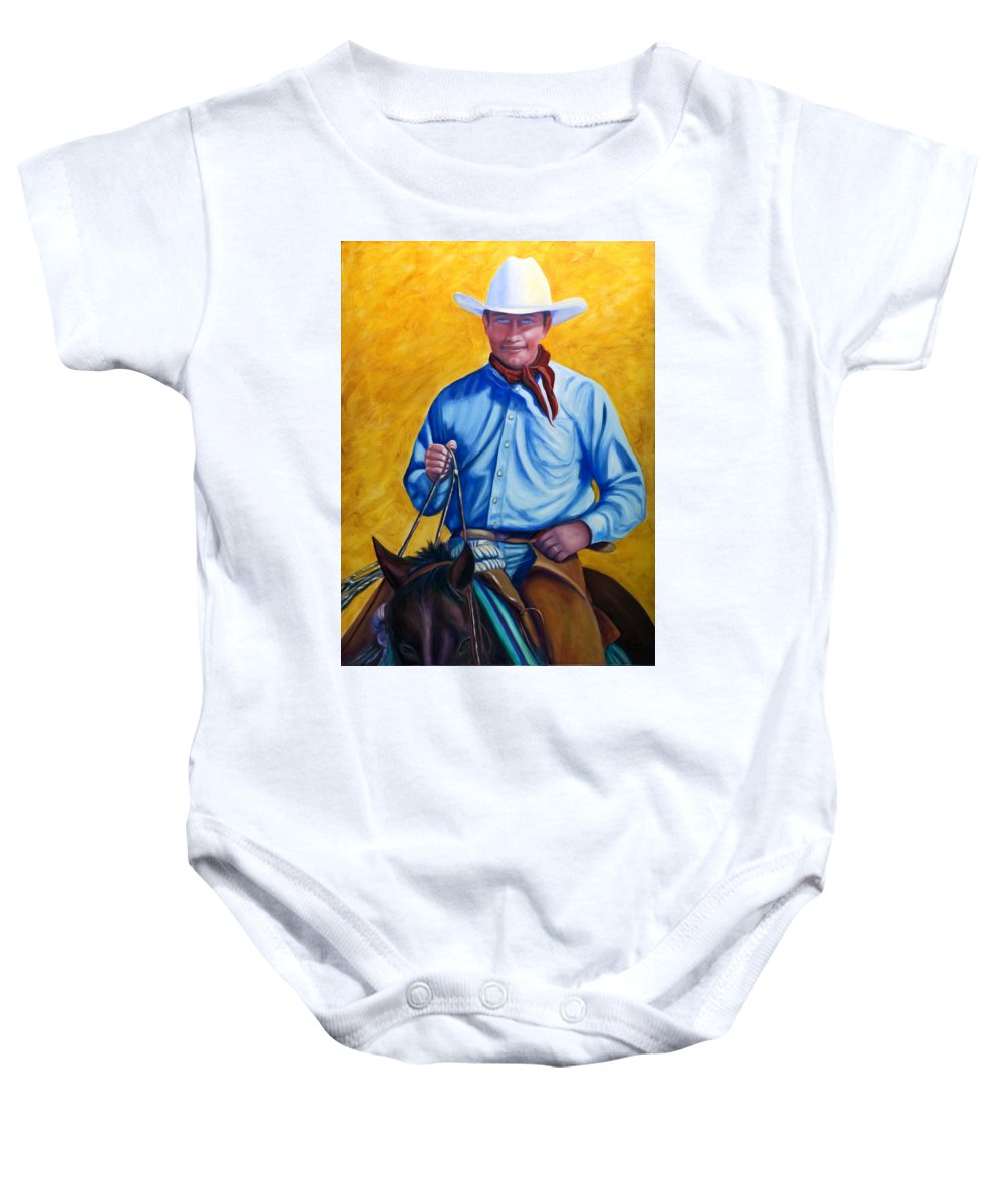 Cowboy Baby Onesie featuring the painting Happy Trails by Shannon Grissom