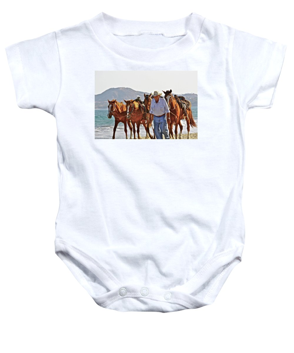 Animals Baby Onesie featuring the photograph Hardworking Man by Diana Hatcher
