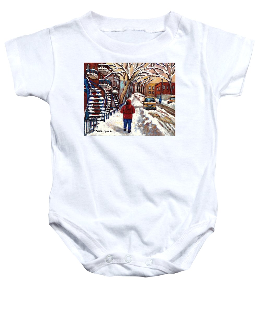 Original Montreal Paintings For Sale Baby Onesie featuring the painting Winter Walk After The Snowfall Best Montreal Street Scenes Paintings Canadian Artist Paysage Quebec by Carole Spandau