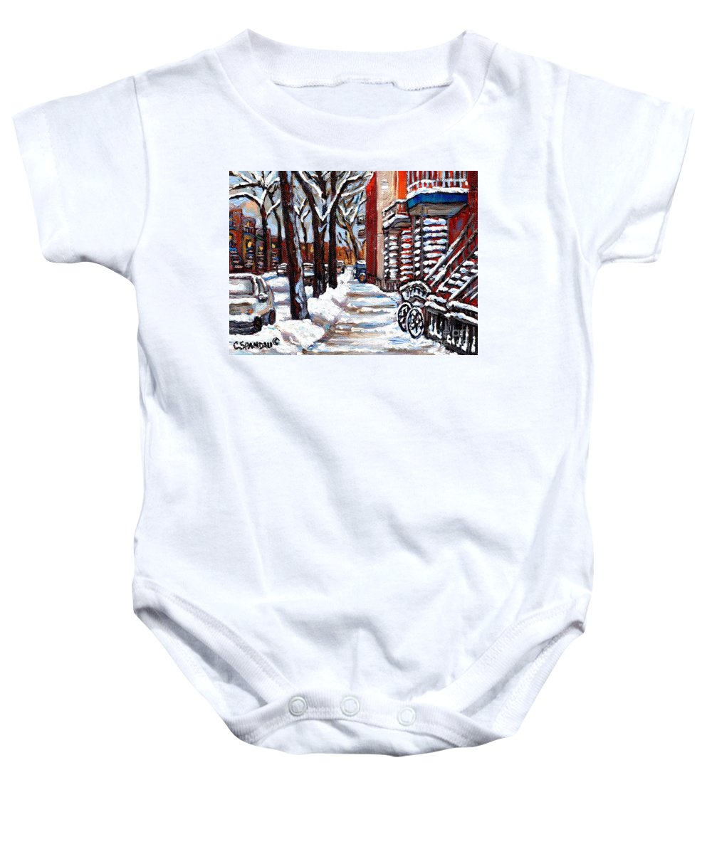 Original Montreal Paintings For Sale Baby Onesie featuring the painting Canadian Winter Scene Paintings Original Art Verdun Montreal Achetez Paysages De Quebec C Spandau by Carole Spandau