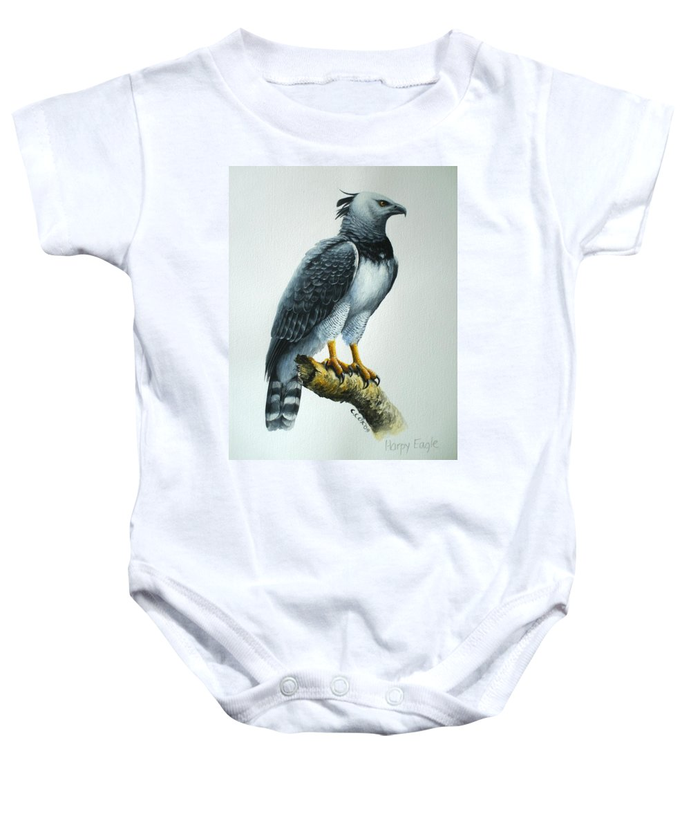 Harpy Eagle Baby Onesie featuring the painting Harpy Eagle by Christopher Cox