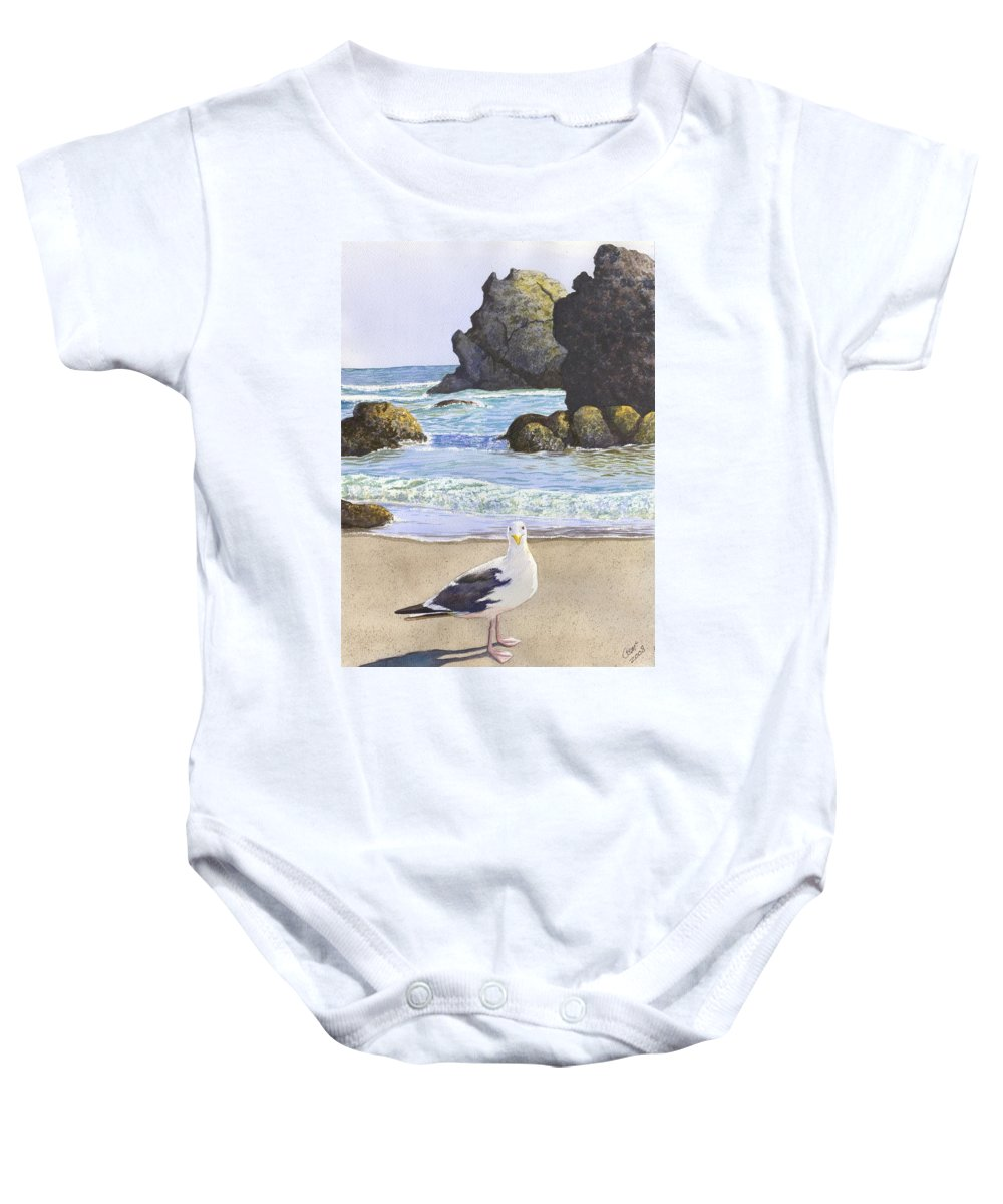 Oregon Coast Baby Onesie featuring the painting Harris Beach by Catherine G McElroy