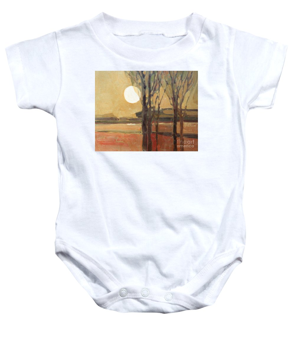 Sunset Baby Onesie featuring the painting Harvest Moon by Donald Maier