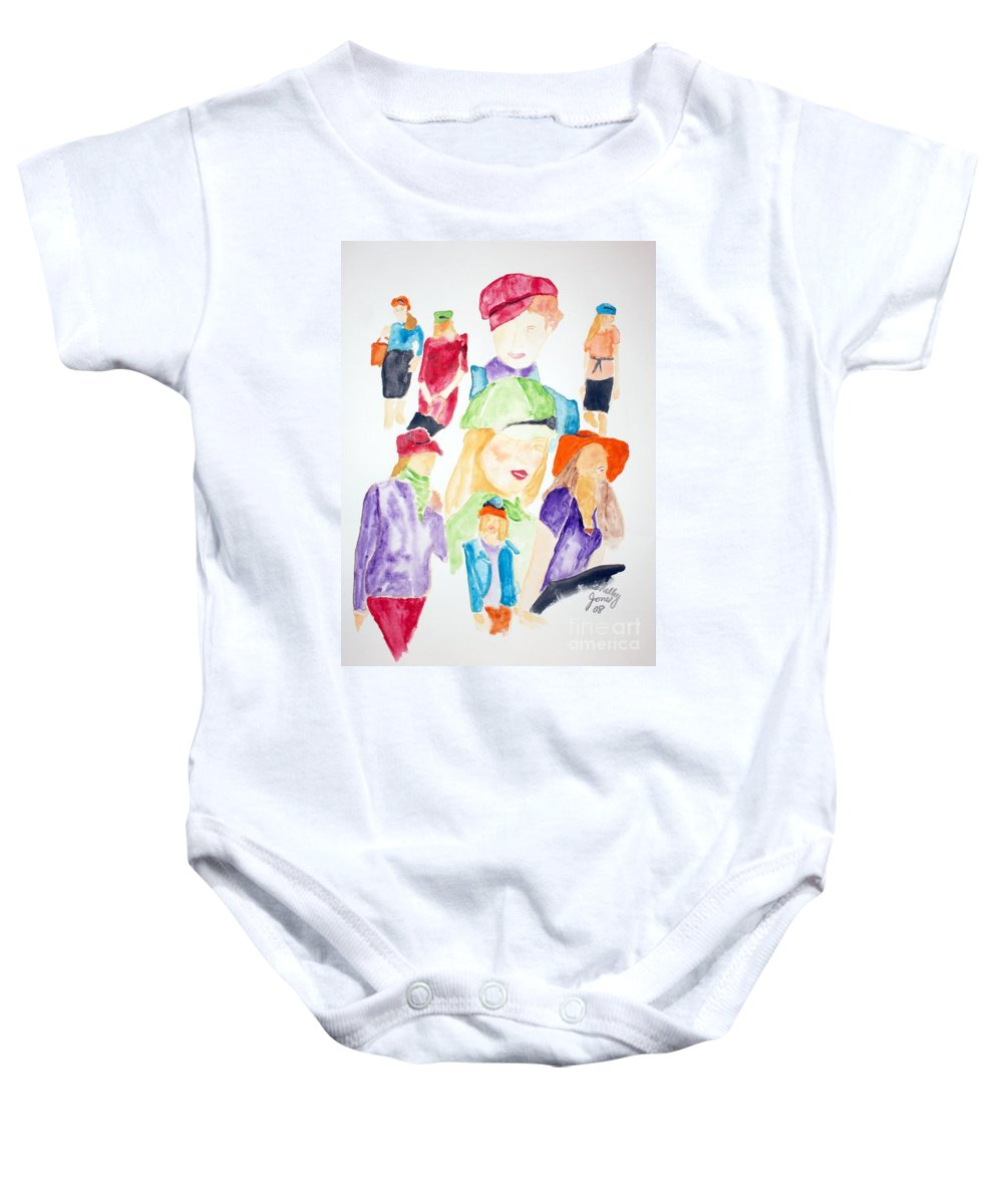 Hats Baby Onesie featuring the painting Hats by Shelley Jones