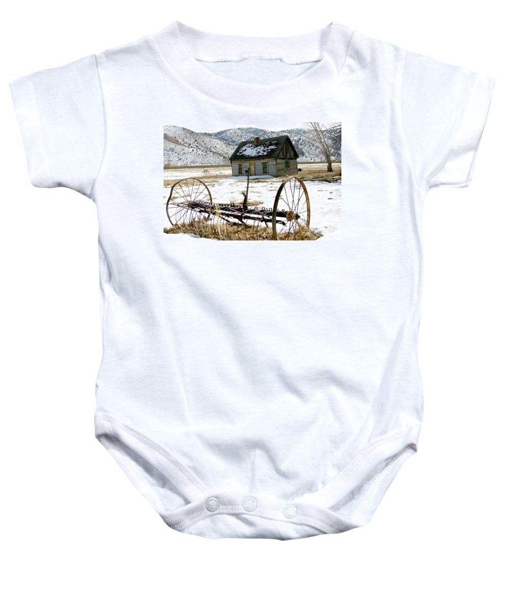Utah Baby Onesie featuring the photograph Hay Rake At Butch Cassidy by Nelson Strong