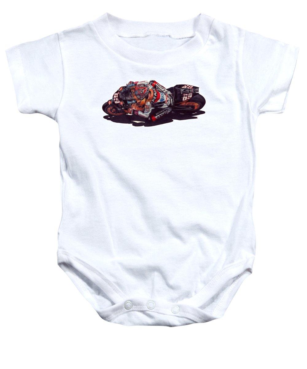 Nicky Hayden Baby Onesie featuring the drawing Hayden by Kristen Wesch