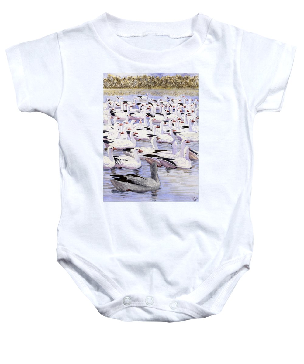 Geese Baby Onesie featuring the painting Heading North by Catherine G McElroy