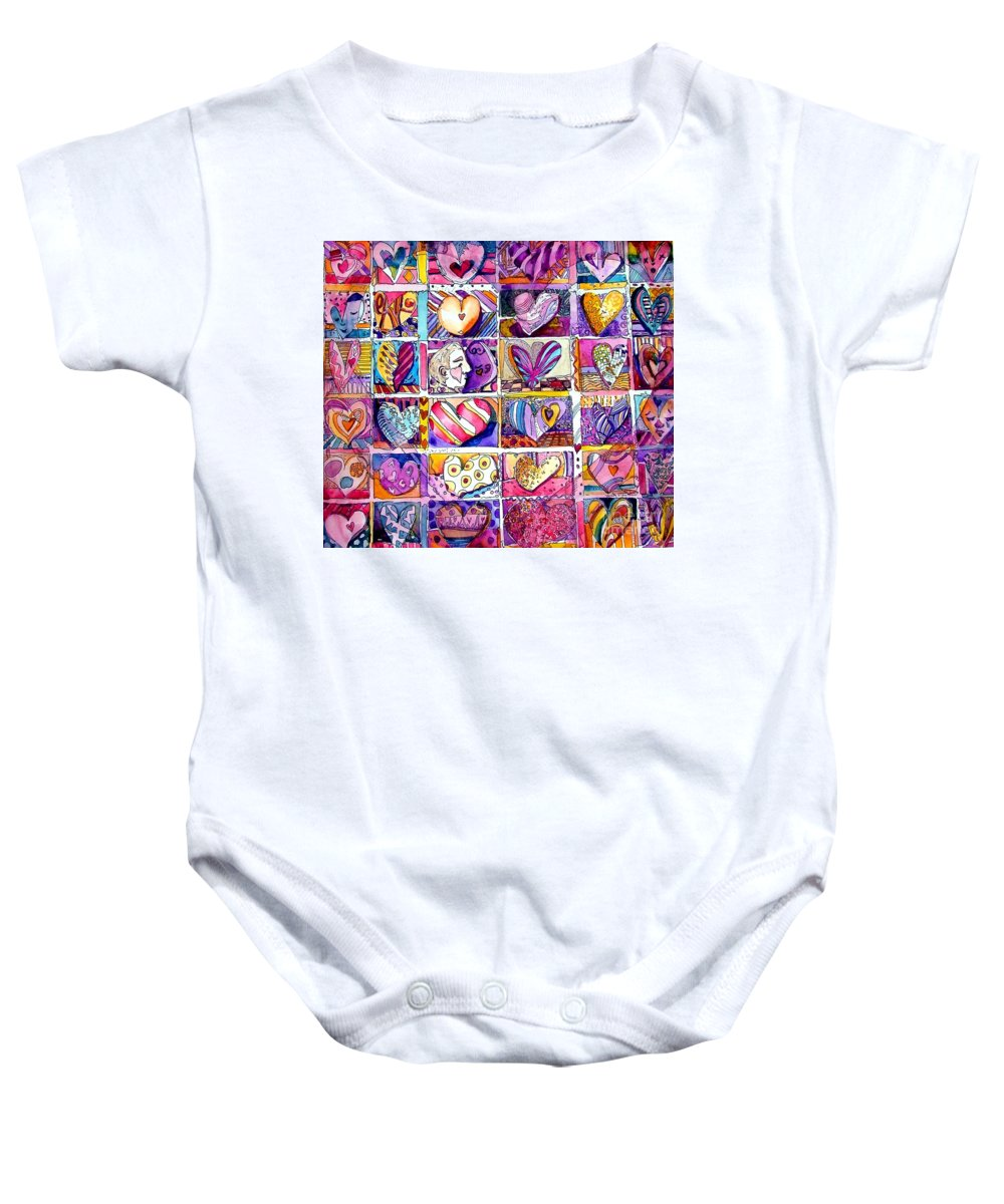 Love Baby Onesie featuring the painting Heart 2 Heart by Mindy Newman