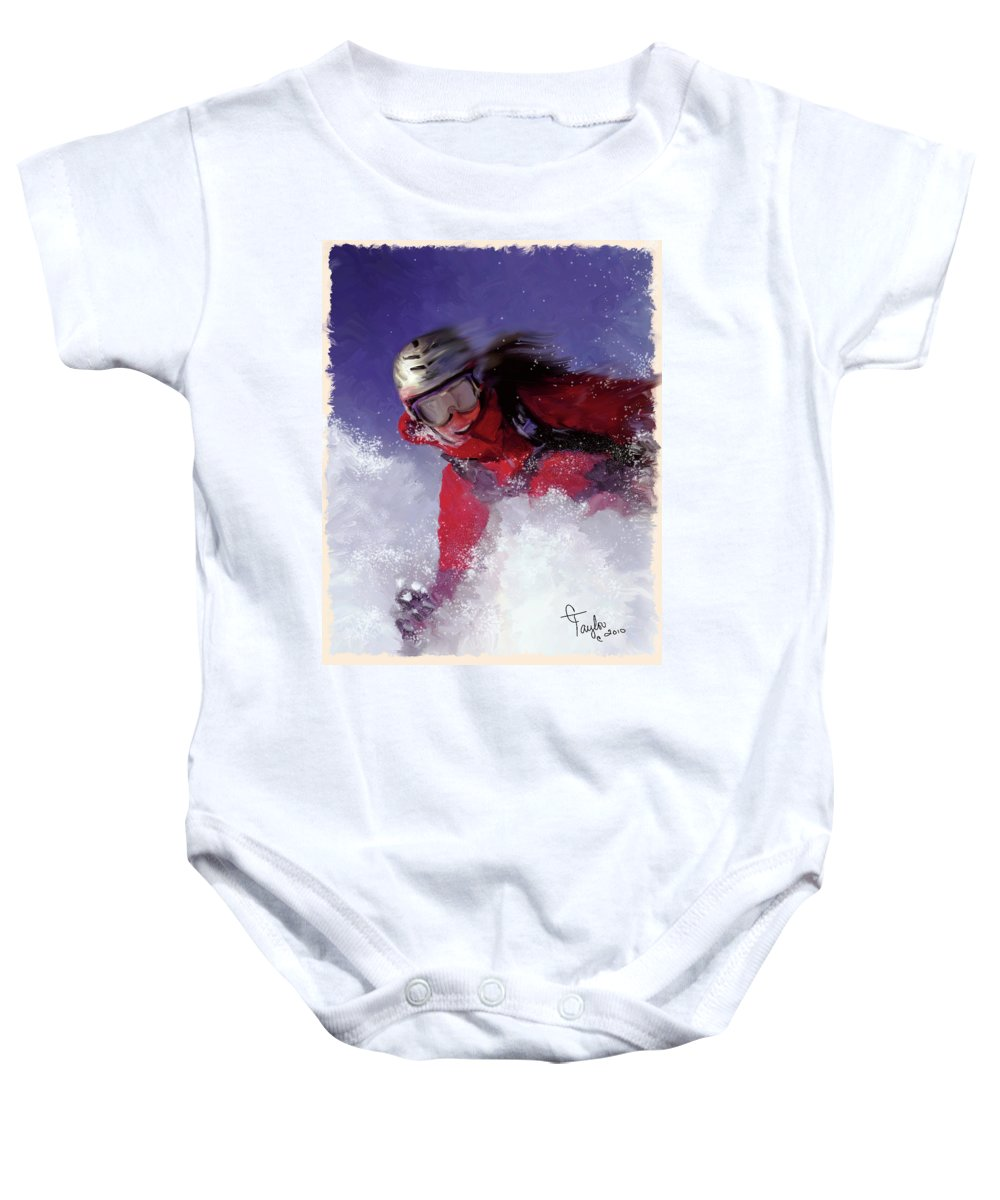 Ski Baby Onesie featuring the painting Hell Bent For Powder by Colleen Taylor