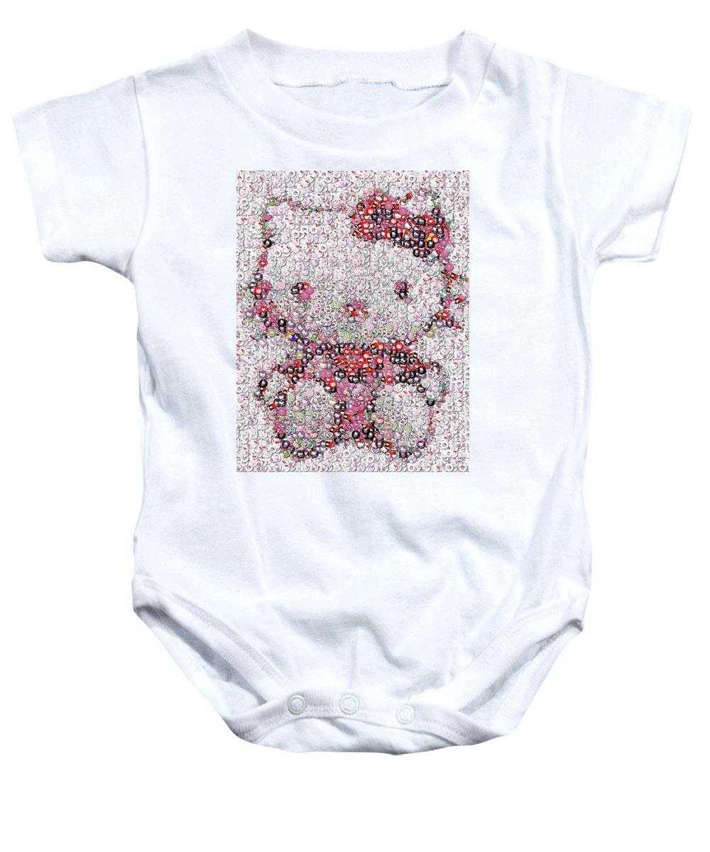 Hello Kitty Baby Onesie featuring the photograph Hello Kitty Button Mosaic by Paul Van Scott