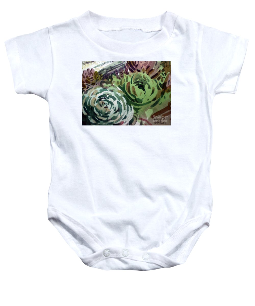 Succulent Plants Baby Onesie featuring the painting Hen And Chicks by Donald Maier