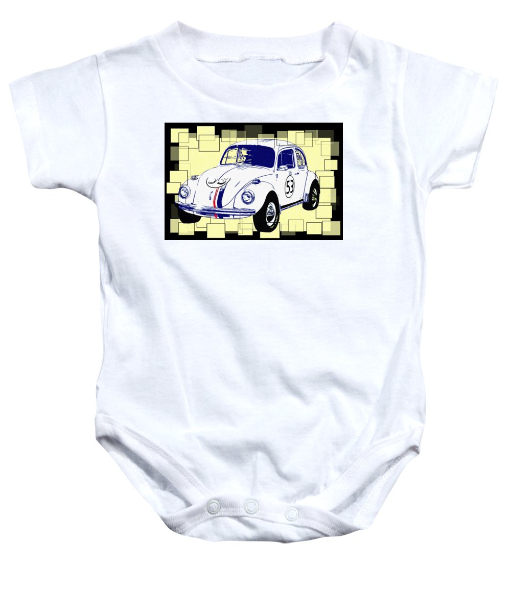 Herbie The Love Bug Baby Onesie featuring the photograph Herbie The Love Bug by Bill Cannon