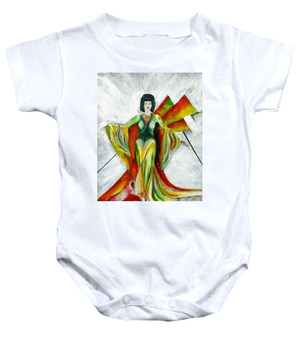 Dress Baby Onesie featuring the painting Here Comes The Sun by Tom Conway