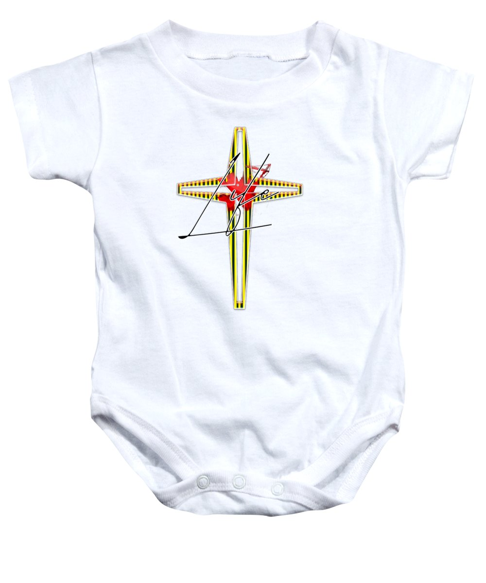 Jesus Baby Onesie featuring the digital art Here Shall Thy Proud Waves Be Stayed by Payet Emmanuel
