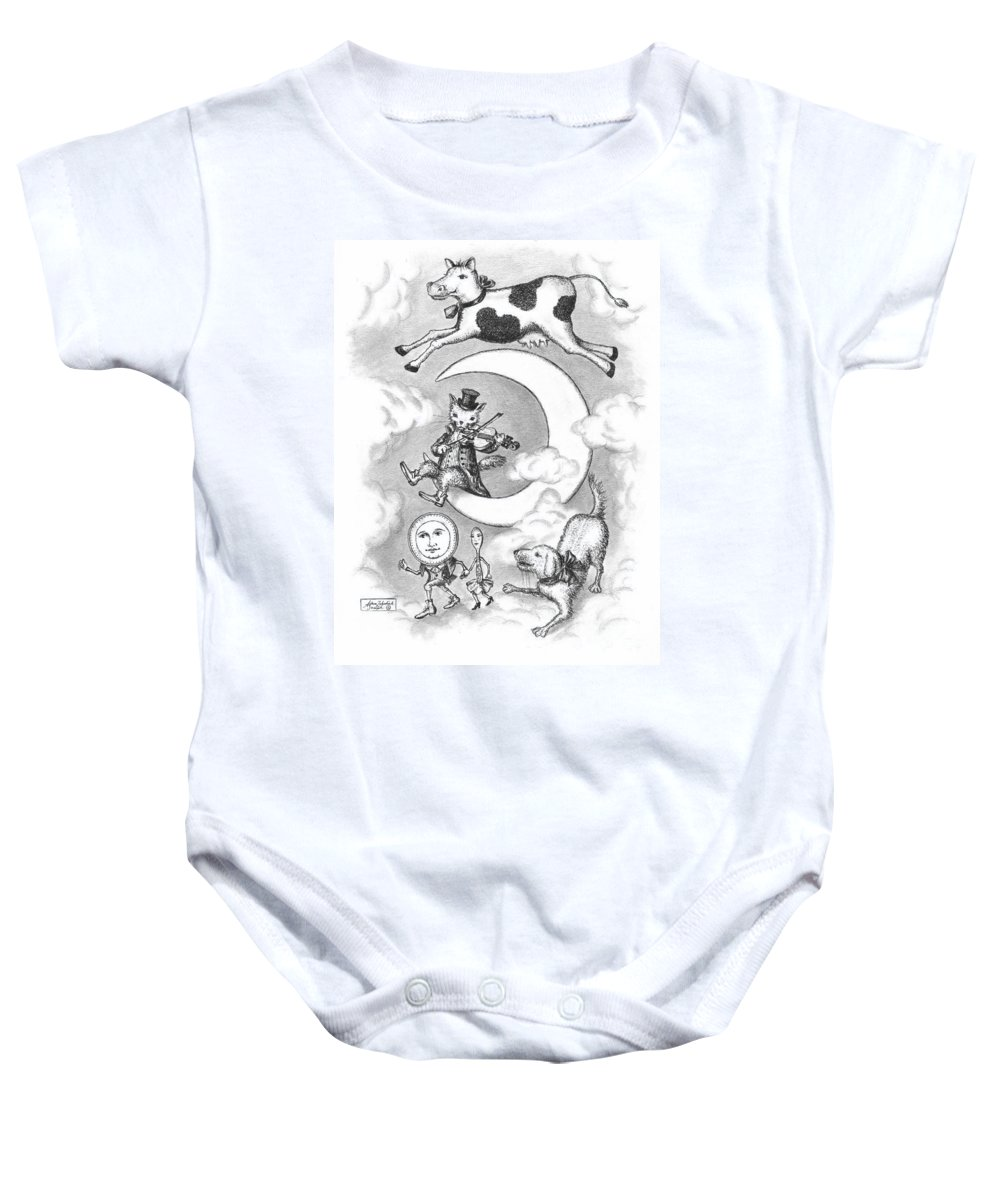 Art Baby Onesie featuring the drawing Hey Diddle Diddle by Adam Zebediah Joseph