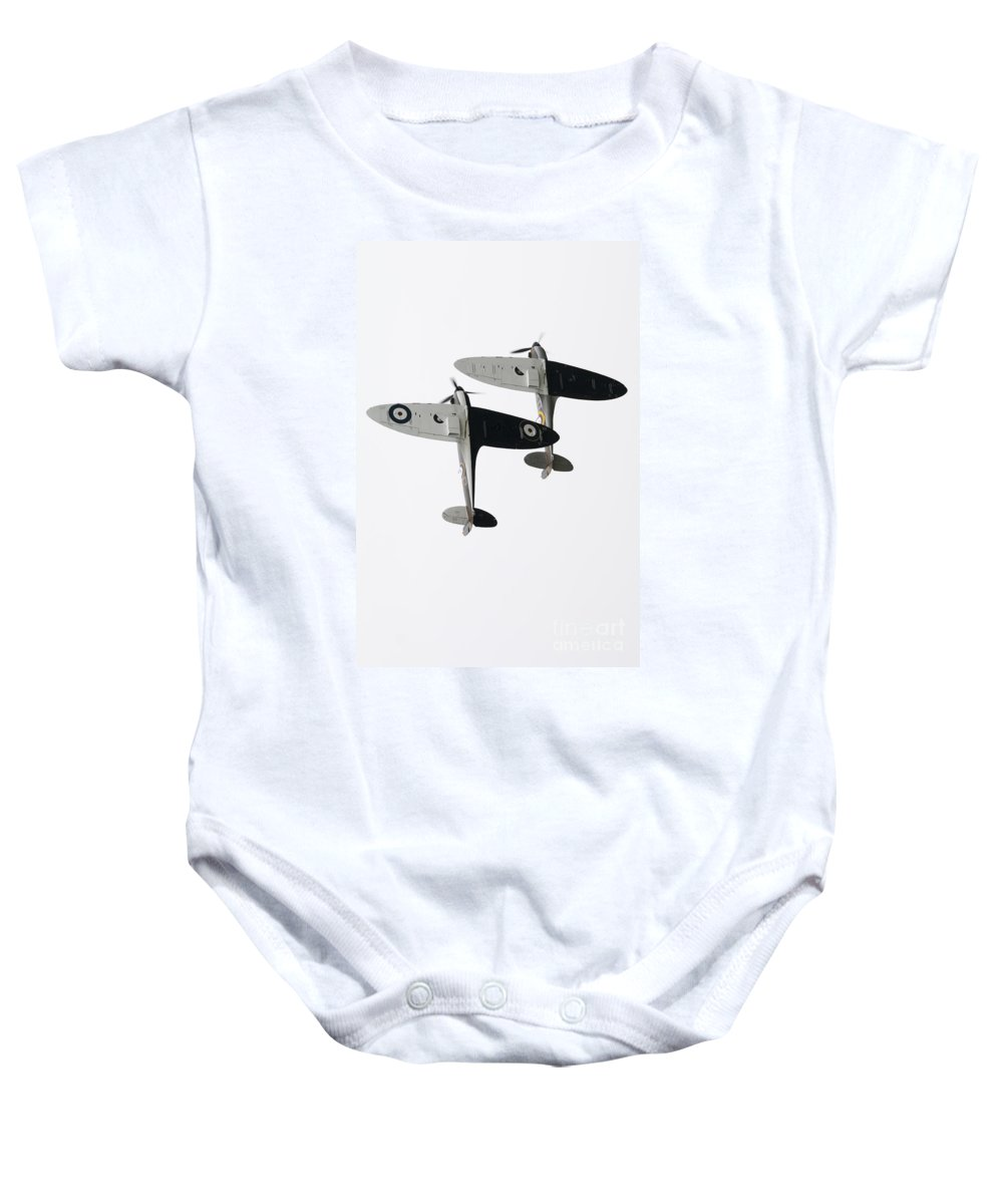 Supermarine Spitfire Baby Onesie featuring the digital art High Key Spitfires by J Biggadike