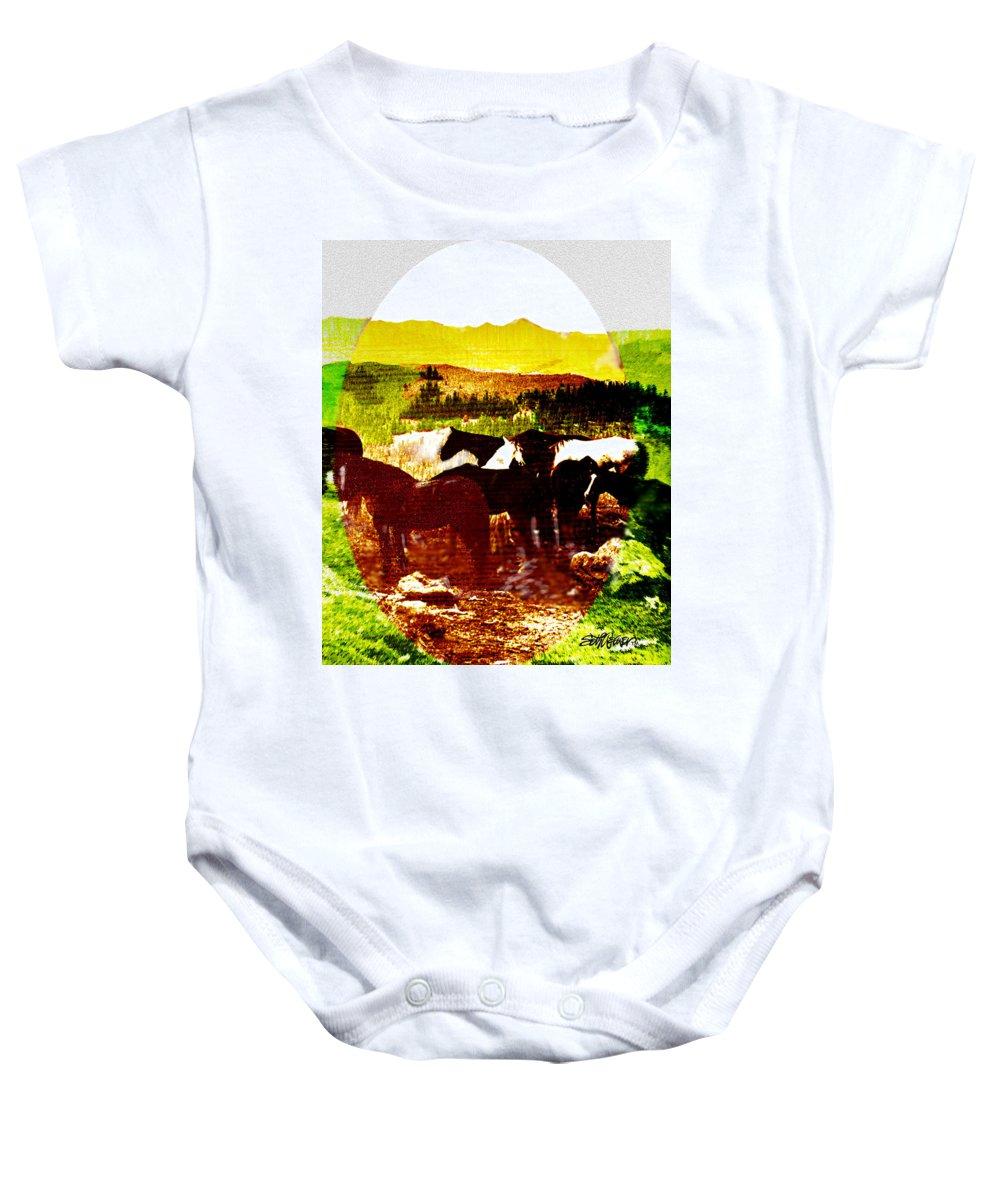 Mustangs Baby Onesie featuring the digital art High Plains Horses by Seth Weaver