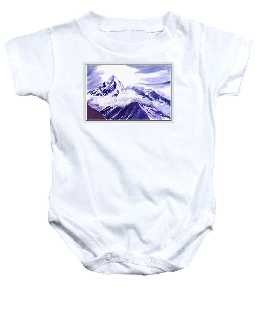 Landscape Baby Onesie featuring the painting Himalaya by Anil Nene