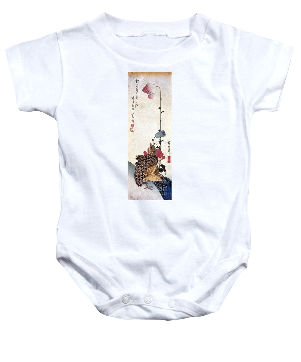 1835 Baby Onesie featuring the photograph Hiroshige: Poppies by Granger