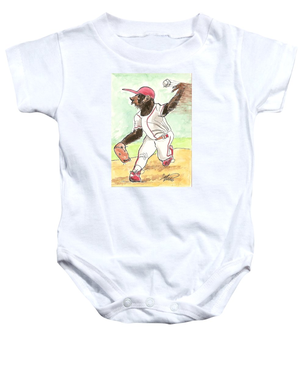 Baseball Baby Onesie featuring the drawing Hit This by George I Perez