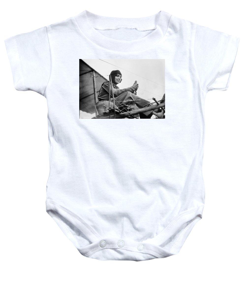 1911 Baby Onesie featuring the photograph H�l�ne Dutrieu (1877-1961) by Granger