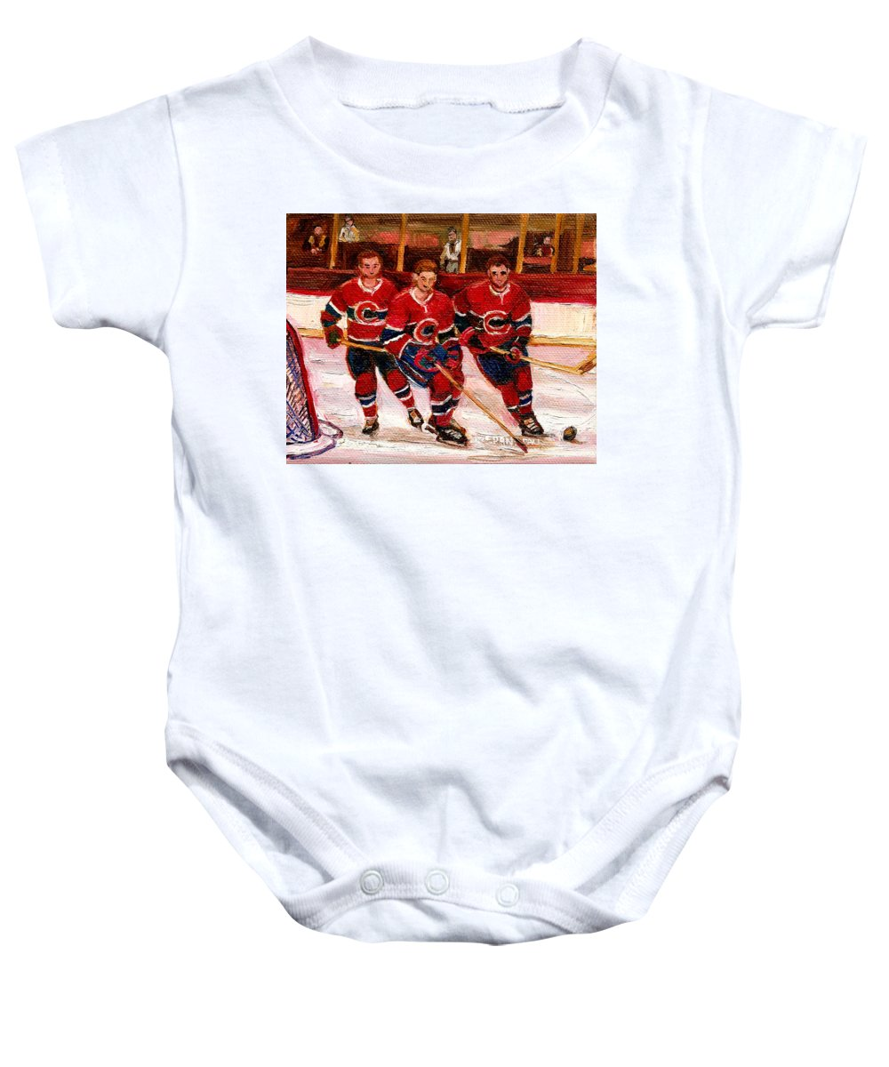 Hockey Art Baby Onesie featuring the painting Hockey At The Forum by Carole Spandau