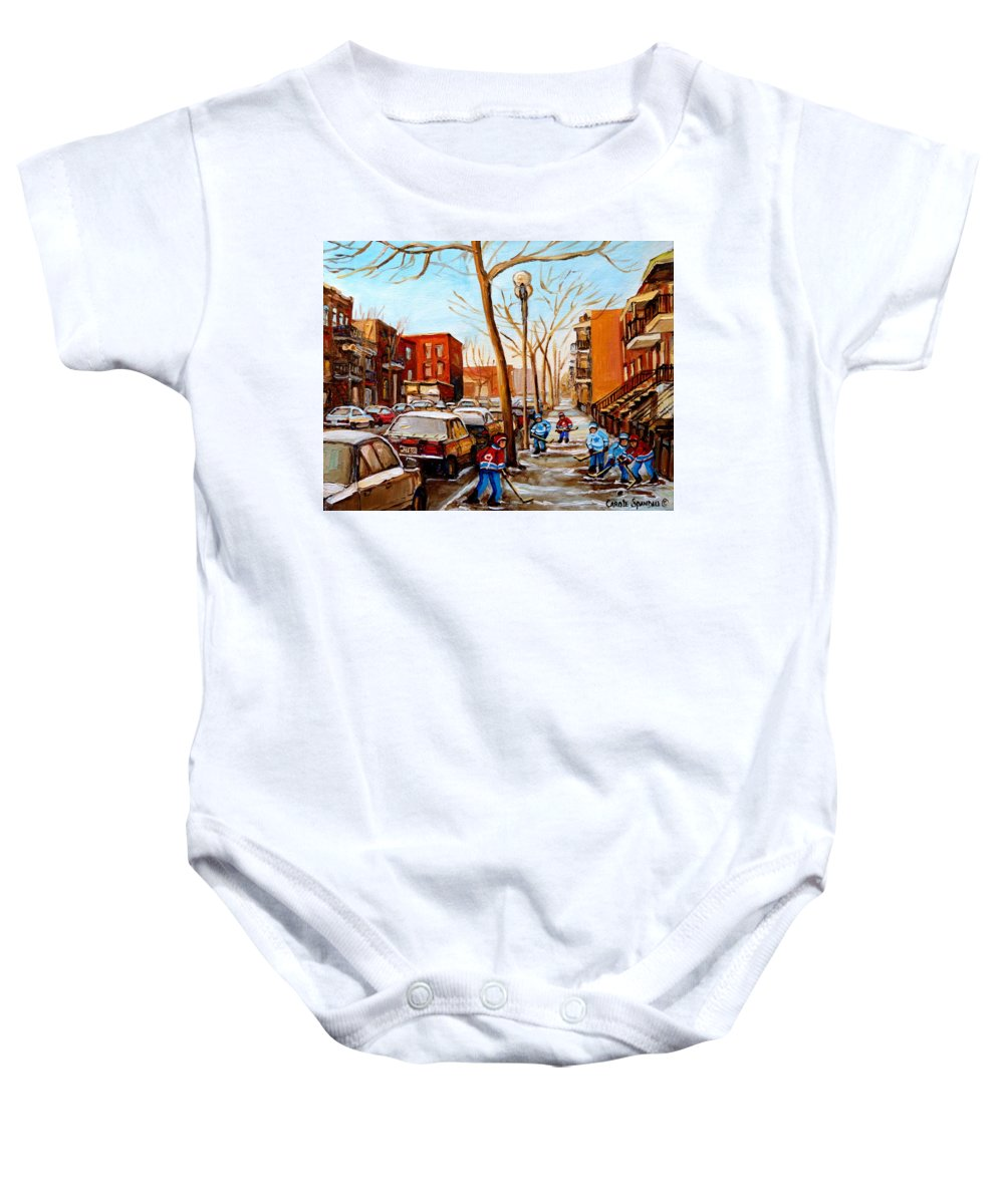 Hockey Baby Onesie featuring the painting Hockey On St Urbain Street by Carole Spandau