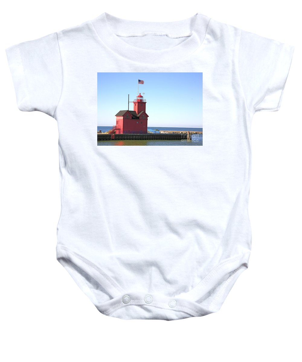 Light House Baby Onesie featuring the photograph Holland Mi-big Red by Robert Pearson