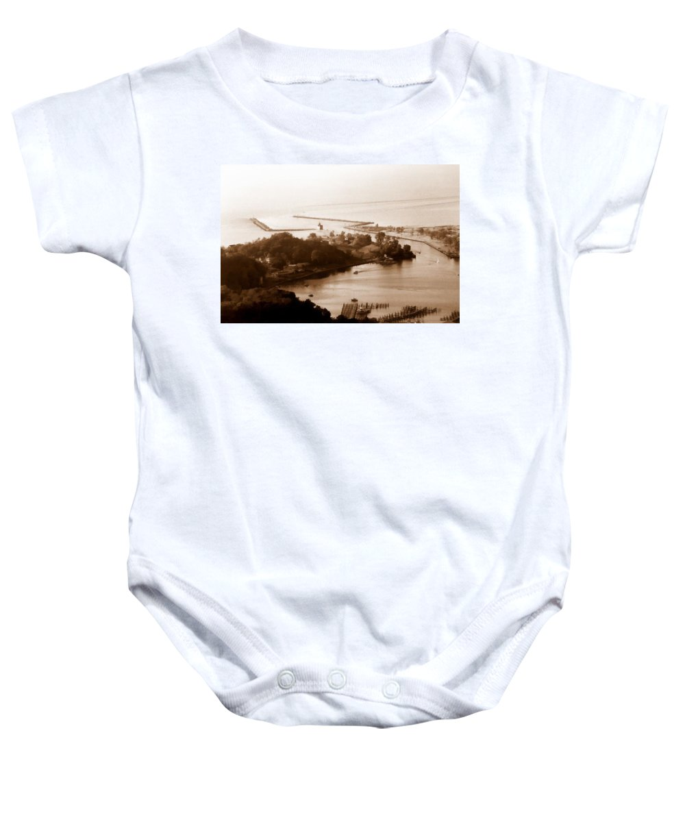 Holland Baby Onesie featuring the photograph Holland Michigan Harbor Big Red Aerial Photo by Michelle Calkins